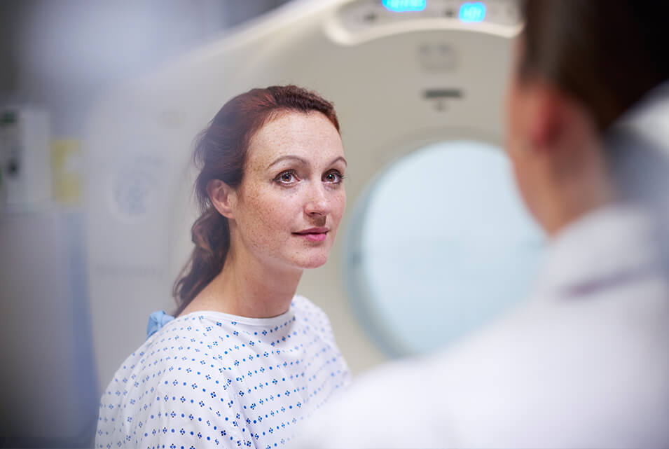 Patient preparing for CT scan