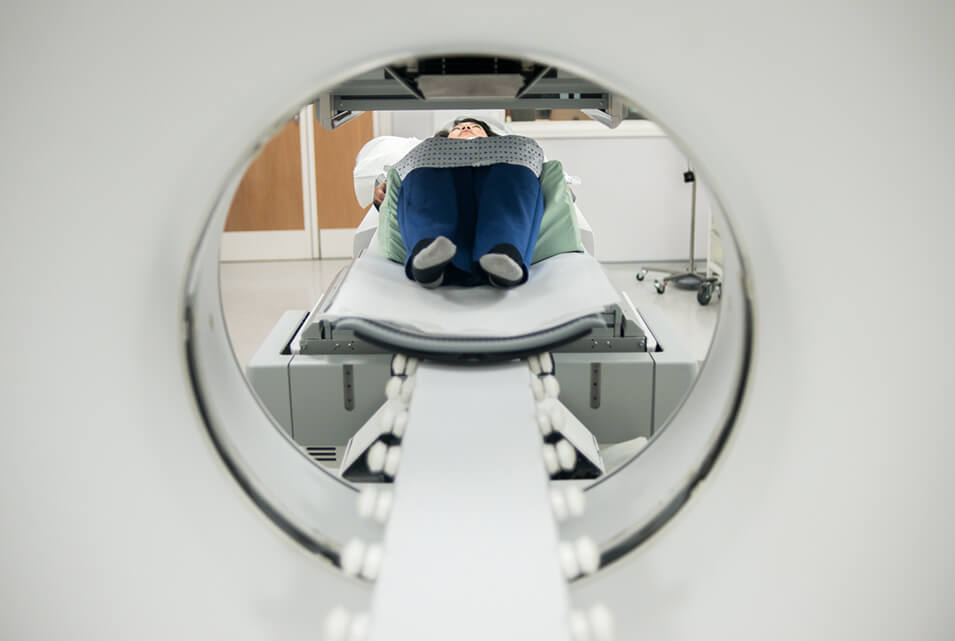 Patient having an MRI scan