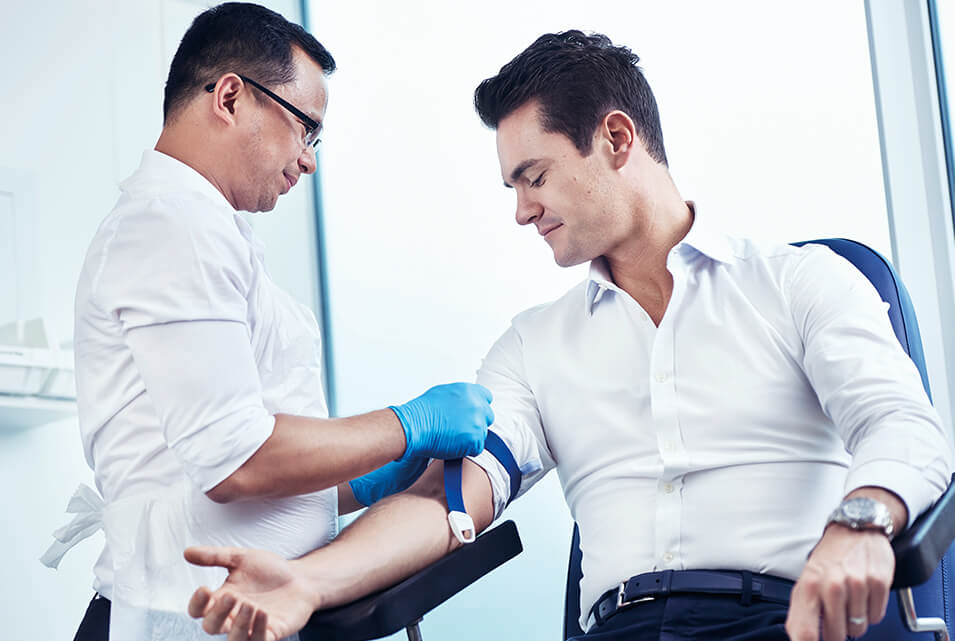 Patient having a blood test