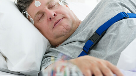 Patient undergoing a sleep study